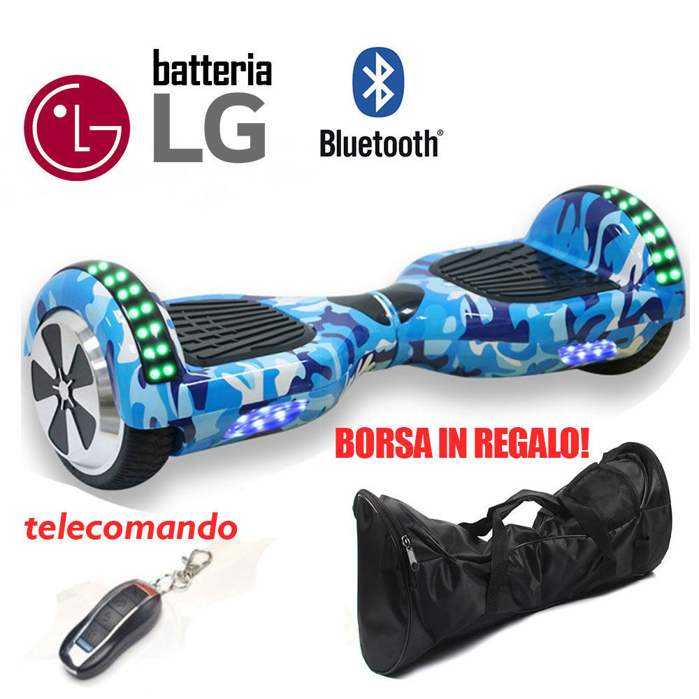 Overboard 6.5 BT Hoverboard Smart Balance Luci Speaker Bluetooth Blu militare